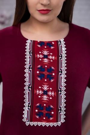 Rochie de zi cu motive traditionale Carmen culoare marsala3