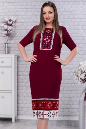 Rochie de zi cu motive traditionale Carmen culoare marsala2