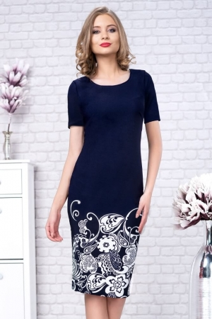 Rochie de zi imprimeu floral Zamfira, bleumarin alb1