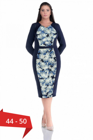 Rochie de zi marimi mari Melisa, bleumarin/bleu0