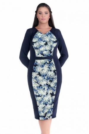 Rochie de zi marimi mari Melisa, bleumarin/bleu1