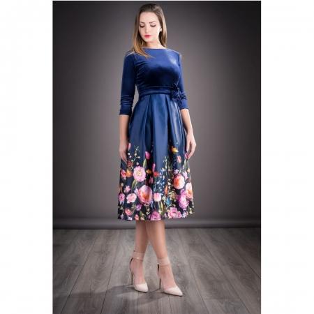 Rochie din catifea cu imprimeu floral Imani, bleumarin0