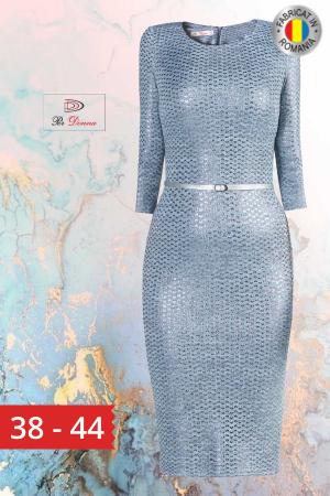 Rochie tricot cu curea inclusa Irene, bleu0