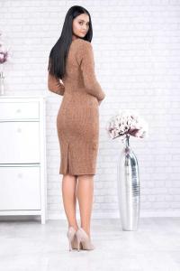 Rochie din tricot cu guler larg Rona caramel2