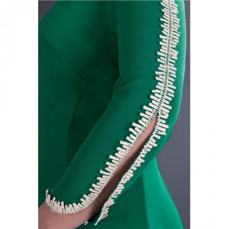 Rochie eleganta midi cu dantela verde pentru femei plinute [2]