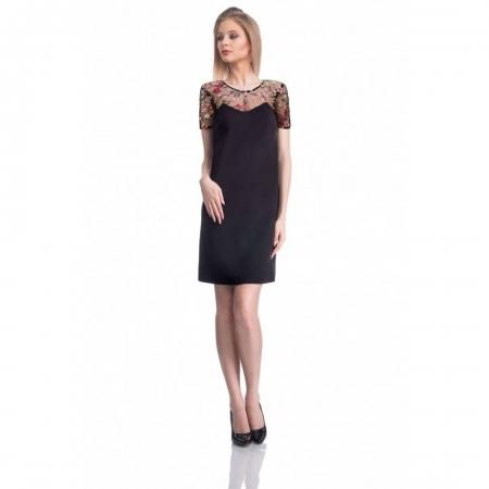 Rochie eleganta cu broderie florala Nia, negru/flori mici0