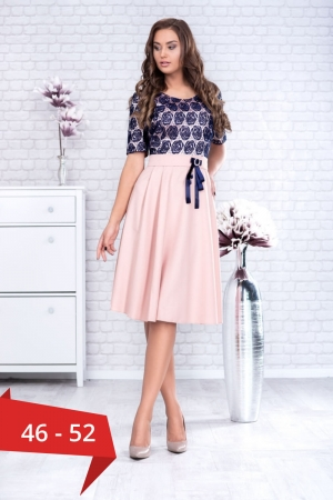Rochie eleganta cu bust dantela Clara, bleumarin/piersica0