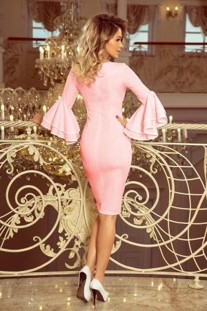 Rochie roz de ocazie cu maneci stil clopot Carmen2