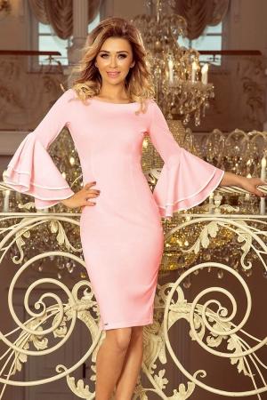 Rochie roz de ocazie cu maneci stil clopot Carmen1