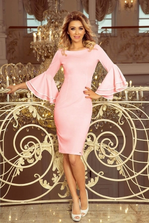 Rochie roz de ocazie cu maneci stil clopot Carmen0