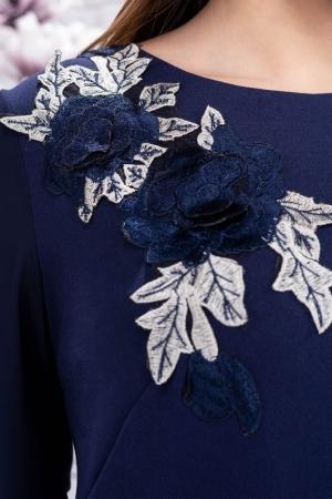 Rochie eleganta de seara cu broderie Naomi, bleumarin3