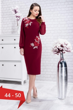 Rochie eleganta de seara cu flori brodate Naomi, marsala0
