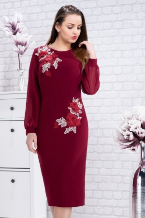 Rochie eleganta de seara cu flori brodate Naomi, marsala1
