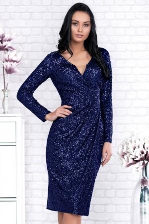 Rochie eleganta de seara cu paiete Barbara, bleumarin3