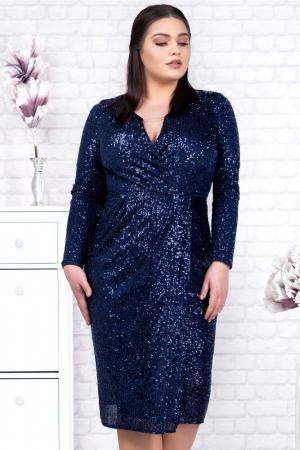 Rochie eleganta de seara cu paiete Barbara, bleumarin1