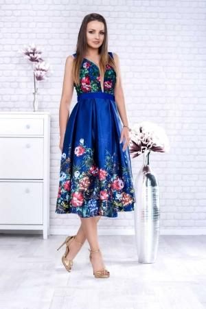 Rochie eleganta de seara din tafta cu corset Luana, albastru0