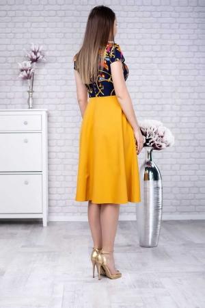 Rochie eleganta de zi Amanda, galben mustar/bleumarin1