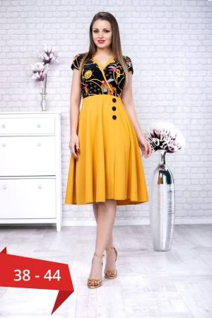 Rochie eleganta de zi Amanda, galben mustar/bleumarin0