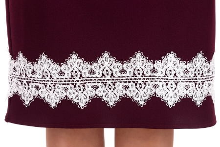 Rochie eleganta de zi cu aplicatii dantela Ava, marsala3