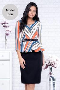 Rochie eleganta de zi cu peplum Candy, negru/multicolor3