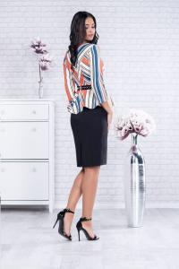 Rochie eleganta de zi cu peplum Candy, negru/multicolor1