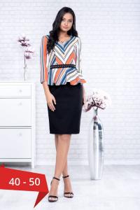 Rochie eleganta de zi cu peplum Candy, negru/multicolor0