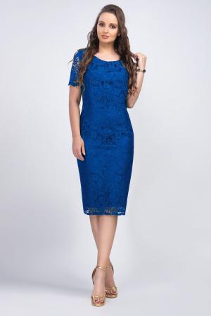 Rochie eleganta din dantela albastra Iulia - Marimi mari [0]