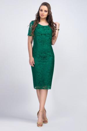 Rochie eleganta midi din dantela verde Iulia - Marimi mari [0]