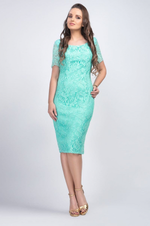 Rochie eleganta midi din dantela verde menta - Marimi mari [0]