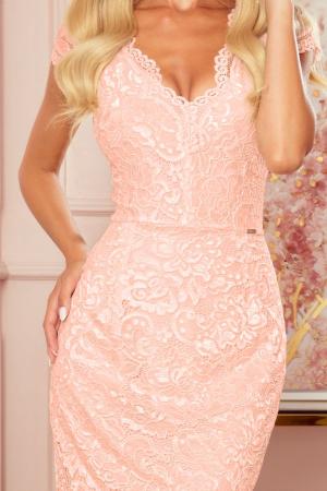 Rochie eleganta midi din dantela culoare piersica2