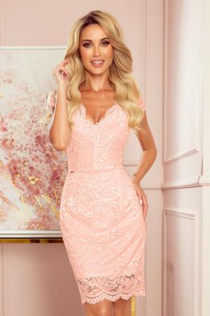 Rochie eleganta midi din dantela culoare piersica3