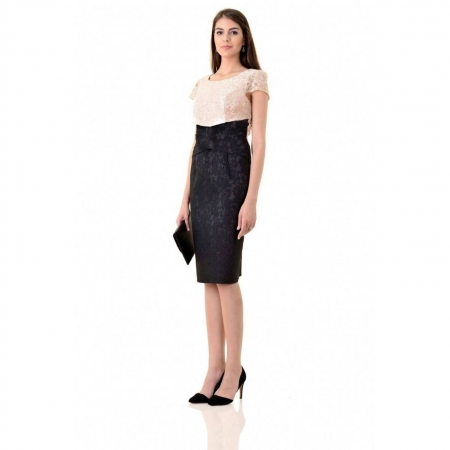 Rochie eleganta din dantela si jacquard Anamaria, negru/bej2