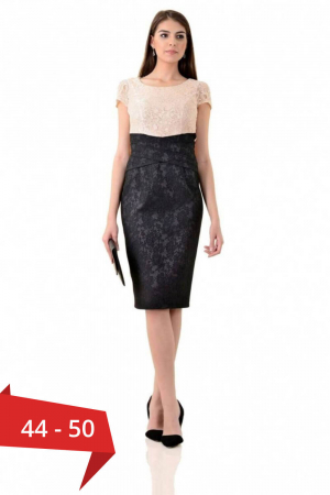 Rochie eleganta din dantela si jacquard Anamaria, negru/bej0