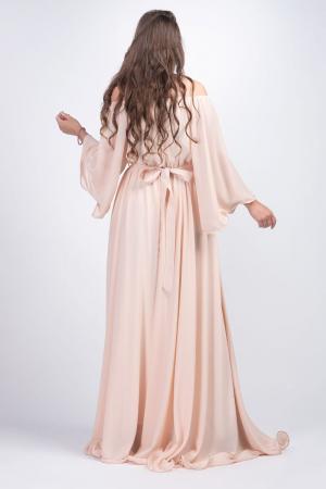 Rochie eleganta lunga din voal bej cu strasuri Sanziana [1]