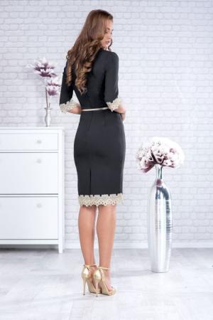Rochii marimi mari - Rochie eleganta midi cu dantela culoare neagra [1]