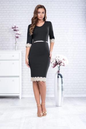 Rochii marimi mari - Rochie eleganta midi cu dantela culoare neagra [0]
