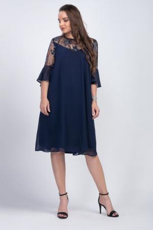 Rochie eleganta midi din voal cu dantela bleumarin - Marimi mari [0]
