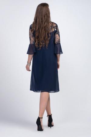 Rochie eleganta midi din voal cu dantela bleumarin - Marimi mari [1]