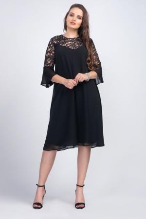 Rochie eleganta midi din voal cu dantela neagra - Marimi mari [0]