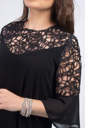 Rochie eleganta midi din voal cu dantela neagra - Marimi mari [1]