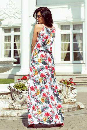Rochie lunga alba cu imprimeu floral si bretele subtiri [1]
