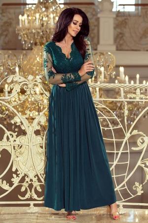 Rochie lunga de seara cu dantela Numoco, turquoise0