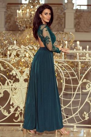 Rochie lunga de seara cu dantela Numoco, turquoise2