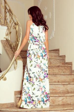 Rochie lunga de zi cu imprimeu trandafiri multicolori [1]