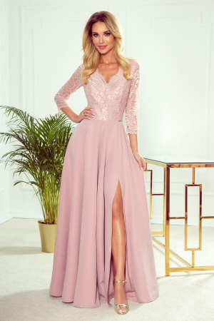 Rochie lunga eleganta Amber roz pudra0