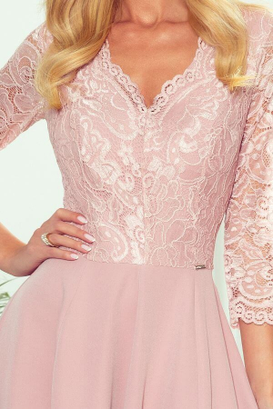 Rochie lunga eleganta Amber roz pudra2
