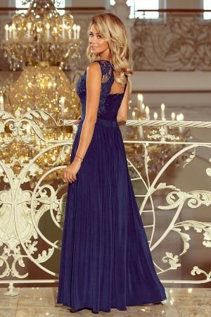 Rochie eleganta lunga cu dantela bleumarin Lea1