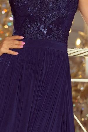 Rochie eleganta lunga cu dantela bleumarin Lea2