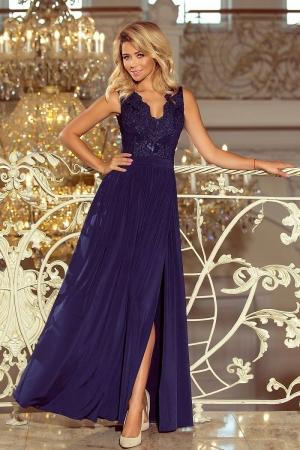 Rochie eleganta lunga cu dantela bleumarin Lea0