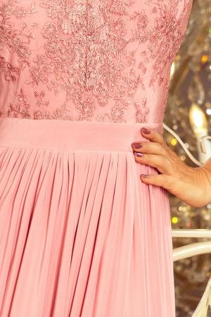 Rochie maxi de seara cu dantela Lea, roz pastel2